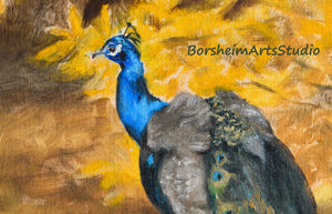 Digital Download Peacock Painting Fine Art YOU PRINT