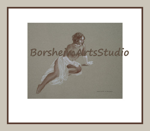 Woman Figure Drawing Topless Nude Woman White Gloves Transparent Sarong Digital Download Classical Style Drawing Wall Art Printable Art 8x12