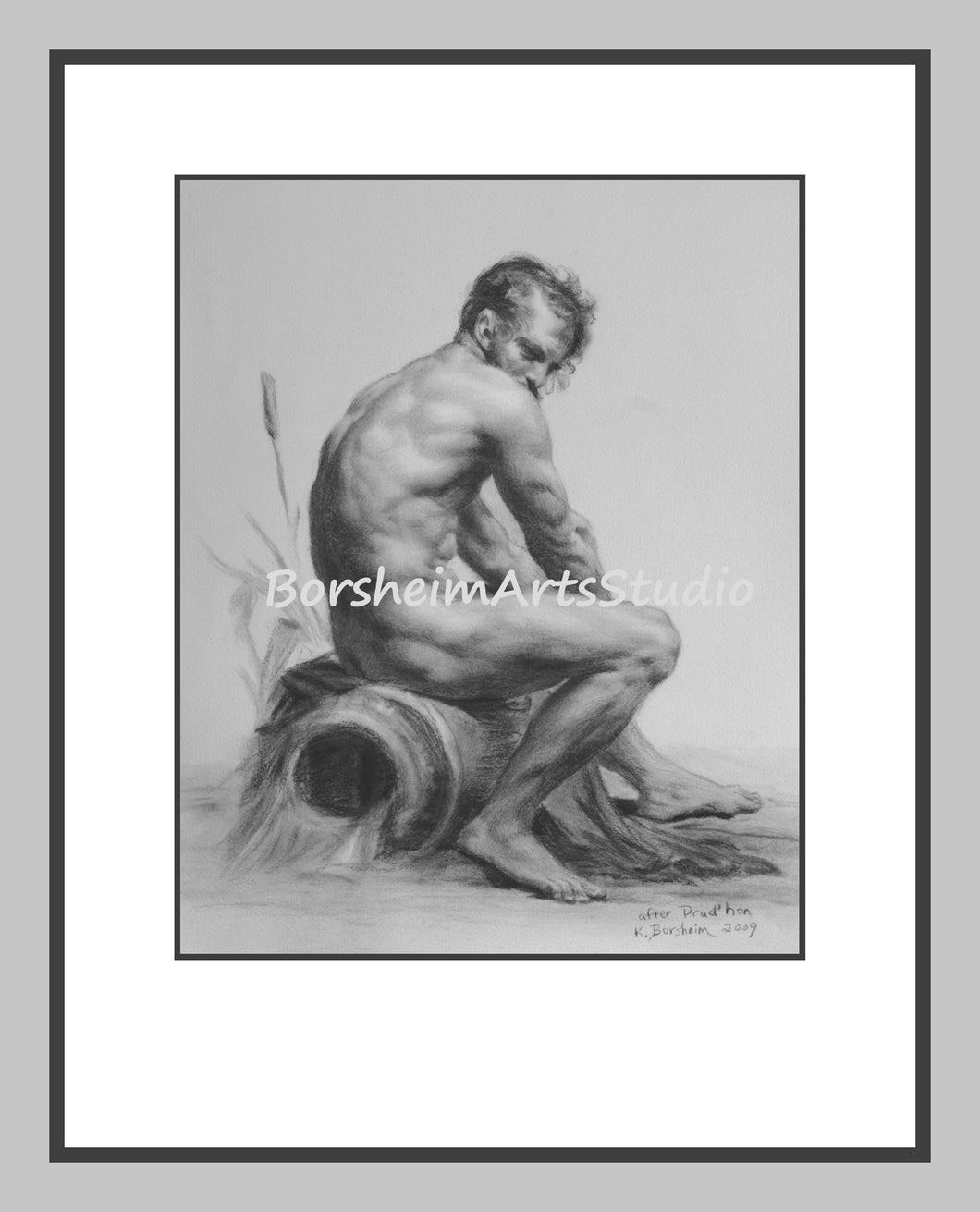 Muscular Nude Man Classical Gay Digital Download of Charcoal Drawing Black and White Printable Art