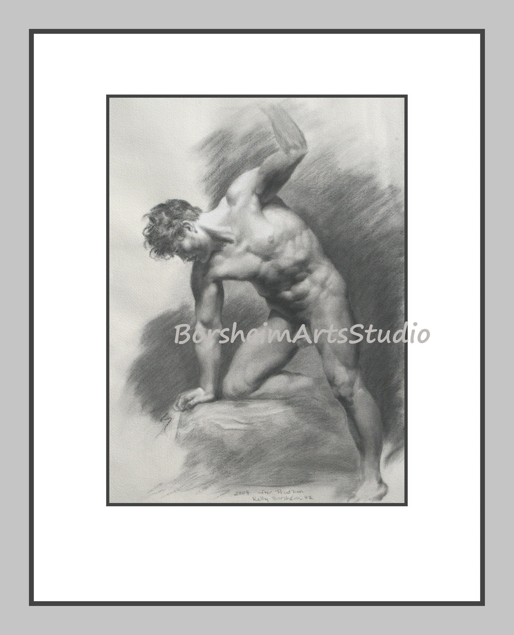 After Prudhon 2 Muscular Athletic Male Nude Digital Download of Charcoal Drawing Black and White Printable Art