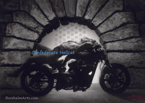 Hellcat at the Pitti - Nude Man on Confederate Hellcat Motorcycle Mature Original Charcoal Drawing from Florence, Italy