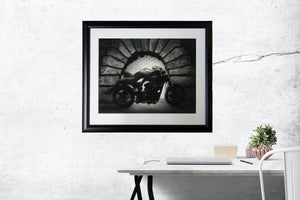 Framed Sample in Room Hellcat at the Pitti Nude Man on Confederate Motorcycle Florence Italy Fine Art Print