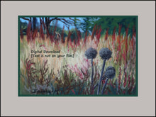 Load image into Gallery viewer, Landscape Trees Fall Grasses 2 Pom Poms Forest in Autumn Santa Margherita Liguria Pastel Art Digital Download Woods Prints