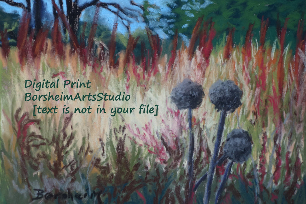 Landscape Trees Fall Grasses 2 Pom Poms Forest in Autumn Santa Margherita Liguria Pastel Art Digital Download Woods Prints