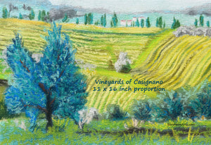 Digital Download Vineyards of Casignano Tuscany Italy Fine Art Print Olive Trees Fields of Gold and Green Landscape Digital Download Printable Art Farmers Casignano