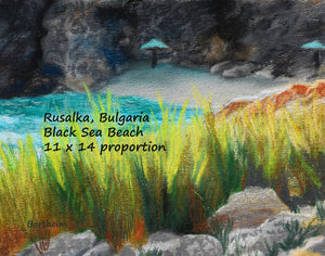 Rusalka Bulgaria Seaside Grasses Landscape Painting of Beach Resort Black Sea Golden Green Grasses Teal waters Digital Download Pastel Art