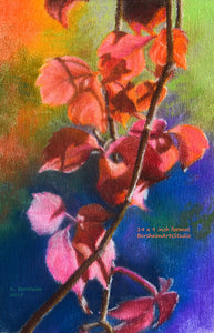Red Vine in Autumn Fine Art Print Colorful Pastel Art Rainbow Colors Fall Leaves