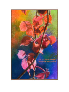 With Border Red Vine in Autumn Fine Art Print Colorful Pastel Art Rainbow Colors Fall Leaves