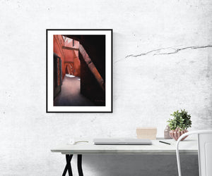 Architecture Corridor Fine Art Print Marrakech Morocco Passages Series Rose Path Tunnel Pink Fine Art Print Home Wall Decor Travel Art