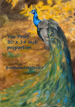 Load image into Gallery viewer, Peacock Painting Fine Art Digital Download YOU PRINT