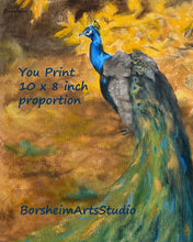 Load image into Gallery viewer, Digital Download Peacock Painting Fine Art YOU PRINT