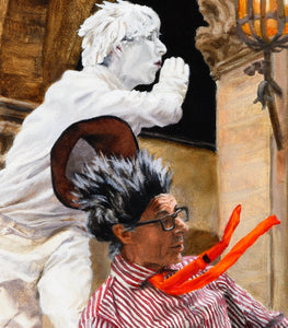 Detail PRINT Street Performers Men Florence Italy Mimes Buskers in Firenze