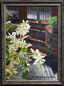Jasmine in the Afternoon Backlit Oil Painting Stone and Brick Terrrace Home