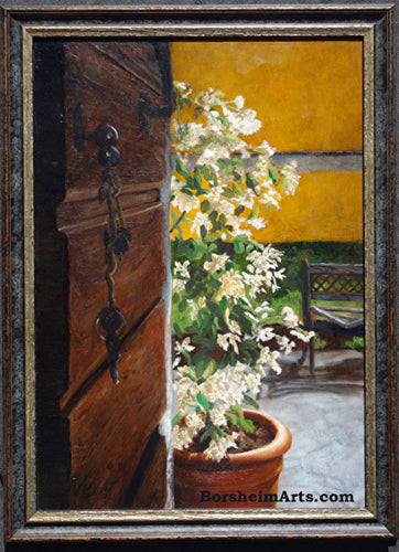 Keys to La Casa Oil Painting Home Entrance With Jasmine