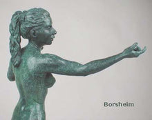 Load image into Gallery viewer, Green Patina detail -Little Mermaid Bronze Statue of Nude Woman Standing Dancing Arm Outstretched