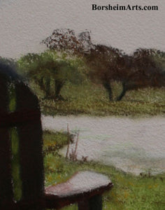 Detail of Pastel texture Morning Light at the Vineyard - Florence, Texas Sun Chairs Relax Lake View - ORIGINAL Pastel Painting