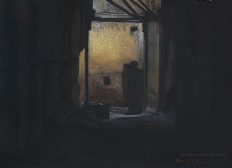 Another Dark Figure Standing in a bend in the corridor African architecture yellow Mysterious Fez Marrakesh Morocco Exhibition Pastel Art