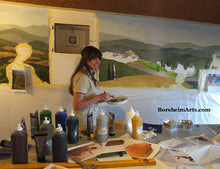 Load image into Gallery viewer, Artist Kelly Borsheim paints a mural in Tuscany, Italy