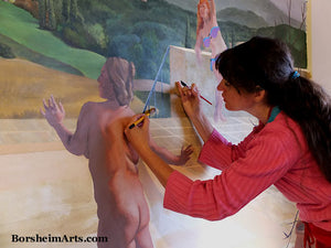 Artist Kelly Borsheim paints fast with acrylic with both hands for a mural in Tuscany, Italy.