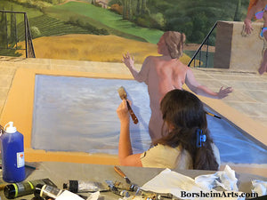 The illusion of water in a swimming pool with a nude bather is painted in an acrylic mural by artist Kelly Borsheim.