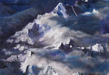 Load image into Gallery viewer, The Alps Landscape Painting Detail Mountain Peaks Soft clouds spill over the pointed peaks in a color combination of purple, blue, and orange.