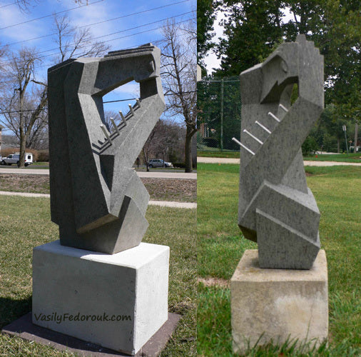 Two Views of Sappho Vasily Fedorouk Granite Abstract Sculpture Sappho Poet Musician Art