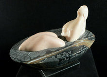 Load image into Gallery viewer, Mother Earth Figure sculpture of woman looking to the heavens, Portuguese rose marble figure with Picasso marble bath oval on a square granite base.  Land 2006 stone sculpture by Vasily Fedorouk