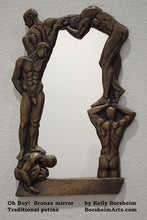 Load image into Gallery viewer, Traditional Patina Oh Boy! Bronze Mirror of Nude Men