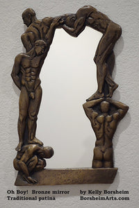 Traditional Patina Oh Boy! Bronze Mirror of Nude Men