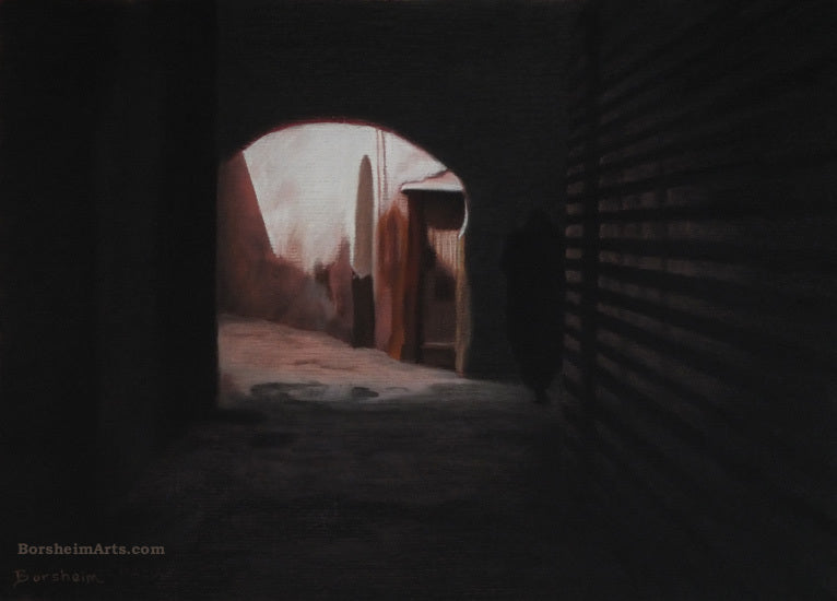 See the figure in the dark?  Phantom Path Marrakesh Morocco Exhibition Pastel Art Architecture