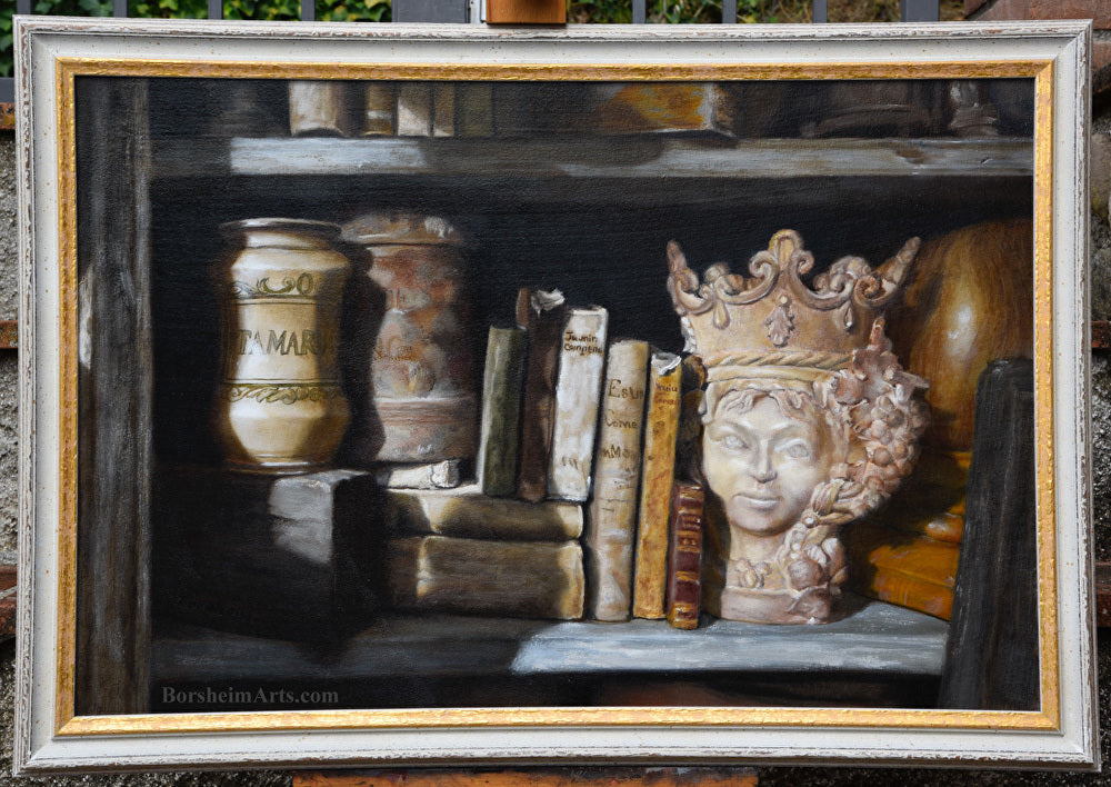 Queen of the Shelf Books Realism Original Still Life Oil Painting