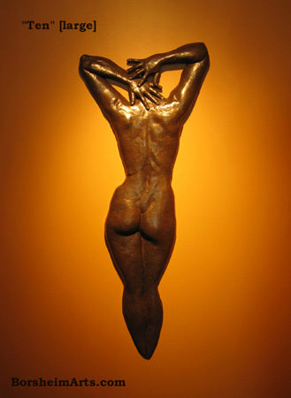 Large TEN bronze figure wall sculpture great for garden or entrance walls