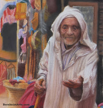 Load image into Gallery viewer, Detail Old man face and hand asking for money The Beggar Essaouira Morocco Passages Exhibition Pastel Art