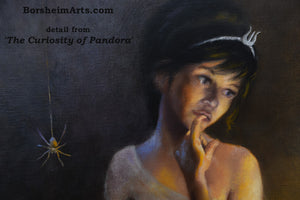 Detail Pandora Face and Spider Curiosity of Pandora - Painting of God Hermes and the Box Greek Mythology