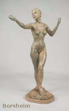Load image into Gallery viewer, Tan Patina - Little Mermaid Bronze Statue of Nude Woman Standing Dancing Arm Outstretched