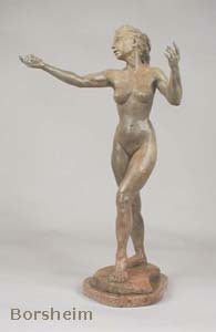 Tan Patina - Little Mermaid Bronze Statue of Nude Woman Standing Dancing Arm Outstretched