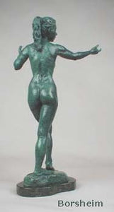 Back View Green Patina - Little Mermaid Bronze Statue of Nude Woman Standing Dancing Arm Outstretched