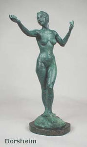 Green Patina - Little Mermaid Bronze Statue of Nude Woman Standing Dancing Arm Outstretched