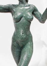 Load image into Gallery viewer, Green Patina - Torso - Little Mermaid Bronze Statue of Nude Woman Standing Dancing Arm Outstretched