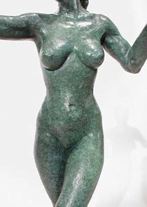 Green Patina - Torso - Little Mermaid Bronze Statue of Nude Woman Standing Dancing Arm Outstretched