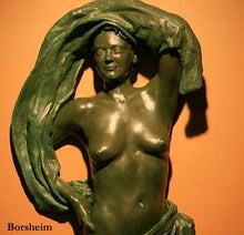 Load image into Gallery viewer, DETAIL of Lookout Bronze Woman with Fabric Wall hanging Art Relief Sculpture