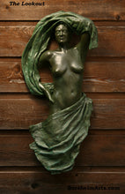 Load image into Gallery viewer, Lookout Bronze Woman with Fabric Wall hanging Art Relief Sculpture