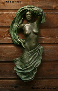Lookout Bronze Woman with Fabric Wall hanging Art Relief Sculpture