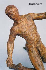 Torsione Nude Male Dancer Twists Torso On His Knees Movement Bronze Statue