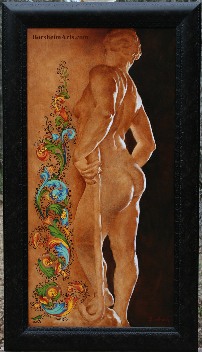 full view in frame of Florentia Painting of Woman Sculpture Florentine Calligraphy Sidelit