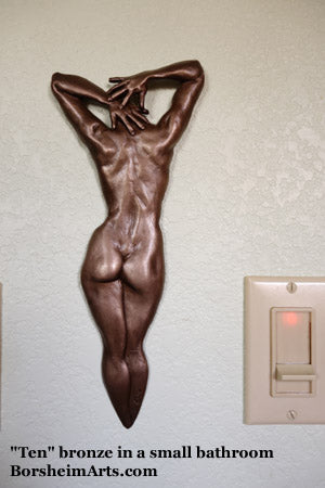 Ten Small Female Nude Back Woman Bronze Bas-Relief Sculpture on Bathroom Wall