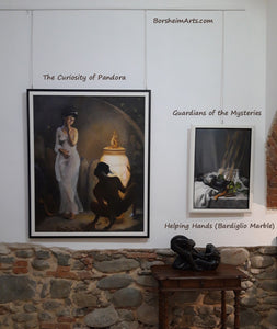 Framed and on exhibit in Pescia, Tuscany, Italy.  Here you may see a relative size comparison with another painting, as well as a marble figure sculpture