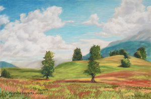 Austrian Valley Landscape Painting of Hills in Austria billowing clouds with rolling hills and trees dotting the land