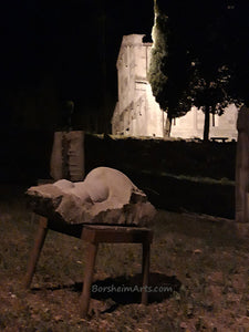 Night Nude Torso of a Woman Casacata (Waterfall) ~ Symposium 2013 Castelvecchio Valleriana Tuscany Italy in front of La Pieve Church
