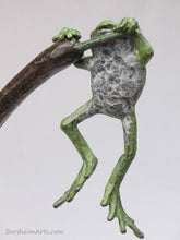 Load image into Gallery viewer, belly patina of tabletop aquatic bronze sculpture, Cattails and Frog Legs Lily Pad Green Art